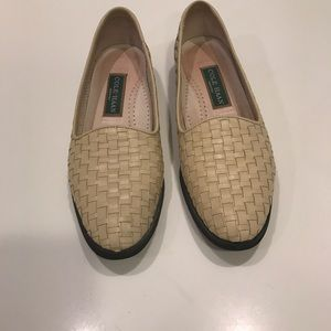 Cole Haan Woven Leather Flats Loafers Beige  8.5 M